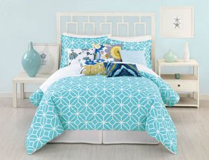 Trina Turk 3-Piece Trellis Comforter Set, Queen, Turquoise