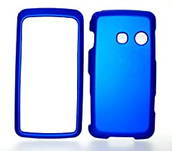 Blue Rubberized Snap on Hard Skin Shell Protector Cover Case for Lg Rumor Touch Ln510 + Microfiber Pouch Bag