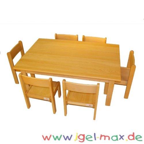 Kindergarten Möbelset Tisch 120×60 cm + 6 Stühle 30 cm Sitzklasse 2 günstig online kaufen