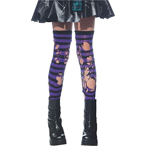 Zombie Ripped Black and Purple Kids Stockings - One Size