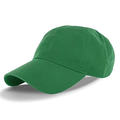 Green-100% Cotton Adjustable Baseball Cap Hat Polo Style Washed Plain Solid Visor (US Seller)
