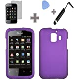 Rubberized Solid Purple Color Snap on Hard Case Skin Cover Faceplate with Screen Protector, Case Opener and Stylus Pen for Huawei Fusion 2 U8665 - AT&T