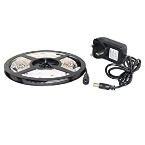 THG Cool White Flexible 16.4 ft 5 Meters 3528 SMD 300 LED Strip Light DC 12V With 2A Power Supply Adapter For Home Ceiling Cabin Mood lighting Strip Lights