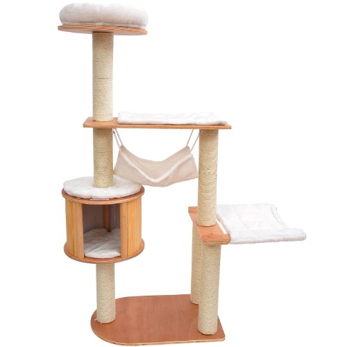 "Pawhut 60"" Cat Tree Kiten Condo Pet Scratcher Furniture - Cream front-109389"