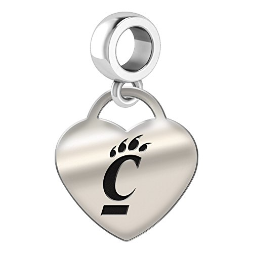 Cincinnati Bearcats Heart Dangle Charm Fits All European Style Bead Charm Bracelets