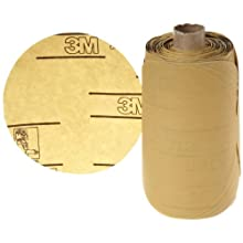 "3M Stikit Gold Paper Disc Roll 216U, PSA Attachment, Aluminum Oxide, 5"" Diameter, P400 Grit (Roll of 175)"