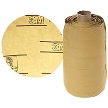 "3M Stikit Gold Paper Disc Roll 216U, PSA Attachment, Aluminum Oxide, 5"" Diameter, P400 Grit (Roll of 175)"
