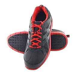 Townforst Gordon Men\'s Slip Resistant Safety Toe Work Shoes Black&Red 10