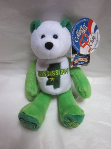 "1 X 50 States of America Coin Bears: Mississippi 20th State 8"" Beanie Bear - 1"