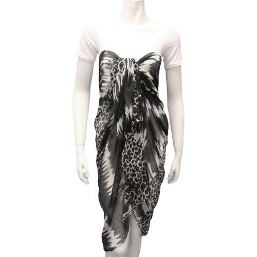 Black Animal Print Tie Dye Long Pareo Scarf Wrap