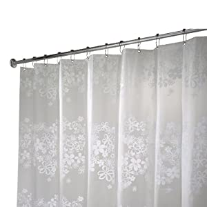 Amazon.com: Interdesign Fiore Eva X-Long Shower Curtain, White, 72 ...