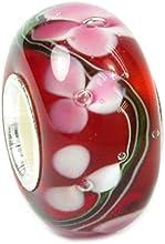 Broche de plata de ley diseño de flores de cristal rojo Valentines con cuentas de 13 mm para Biagi Chamilia Pandora Troll para pulsera pulseras de seguridad europeo Story