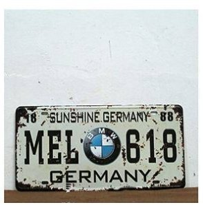 Bmw Mel-618 Germany Vintage Auto License Plate Embossed Tag Size 6 X 12 by TIN SIGN