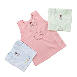 Baby Bucket Printed Sleeveless Vests 3 Pcs. Set (color may vary.)0-3 Months, Pink