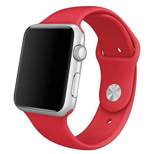 Happy Hours® New Soft Silicone Rubber Watch Band Fitness Bracelet Wrist Strap Replacement Snap Built-in Adapter Connectors For Apple Watch Sport Edition 38mm 2015 Released iWatch--Bright Red