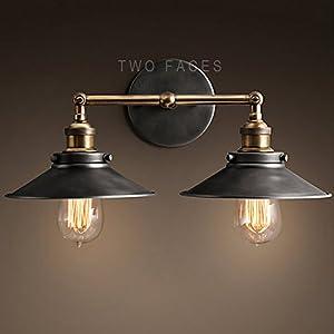 Buyee 2*Modern Vintage Industrial Loft Metal Black Rustic Scone Wall Light Wall Lamp by Shenzhen Buyee Trading Co.,Ltd