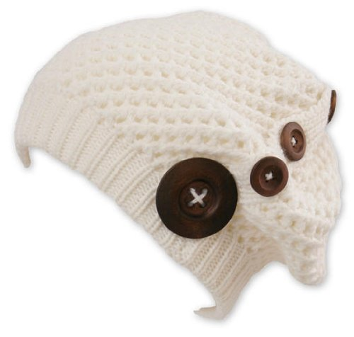 Billig Long Beanie Cap Nelly White (Chillouts Collection) - Trendy Strickmütze mit Holzknöpfen, Material: 100% Acryl.