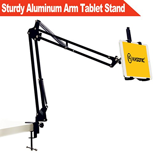 Sturdy Aluminum Arm Tablet Stand, Kasonic Hands Free Desk Holder 360 Swivel Foldable Easy-lock Padded Telescopic Rack Mount for iPad Air Mini, Samsung galaxy,Android All 7-10in Tab