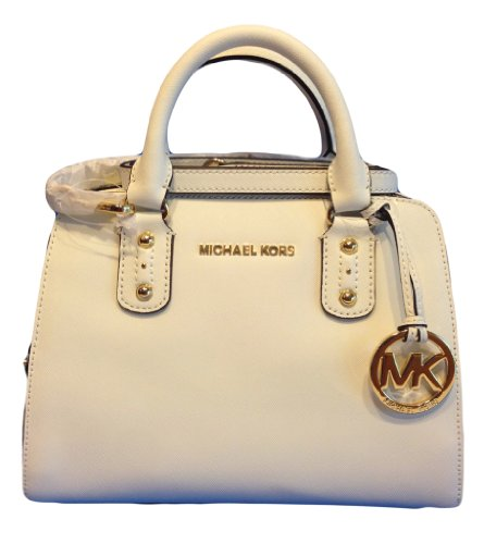 Michael Kors Saffiano Small Satchel Optic White Leather