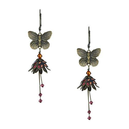 [NoMonet Flower Fairy Vintage Style Hand Painted Butterfly Garden Dangle Earrings - Yellow Orange] (Clockwork Orange Costume Female Diy)