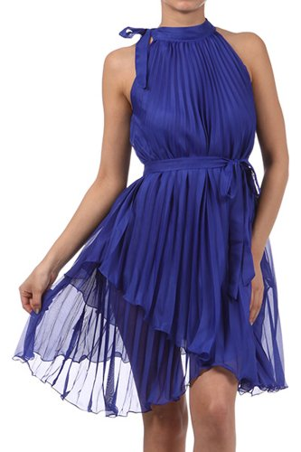 FOPleatSolid1-8209 Asymmetrical Hem Pleated Short Sleeveless Dress in Semi-Opaque Solid Colors - Royal