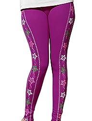 1 stop fashion Purple Cotton Lycra Leggings