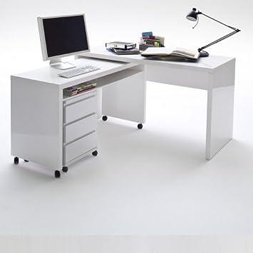 memphis schreibtisch klein wei hochglanz 130x50x71cm dc769. Black Bedroom Furniture Sets. Home Design Ideas