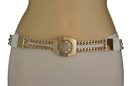 TFJ Women Fashion Elastic Belt Hip High Waist Gold Metal Chain Links Buckle White S M