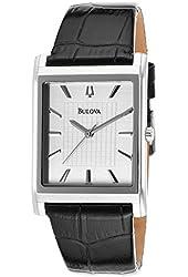 Bulova 96A23-SD Men's Dress Black Genuine Leather Silver-Tone Dial