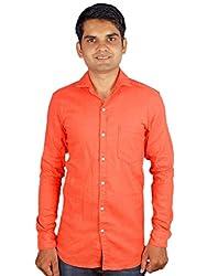 Maclavaro Mens Casual Solid Shirt_9PLNCOTDRKORG_Orange_M