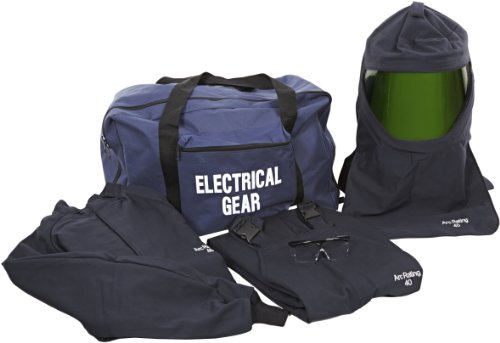National Safety Apparel Kit4Sc40Lgng Arcguard Hrc 4 Arc Flash Kit With 40 Cal/Sq Cm Ultra Soft Short Coat And Bib Overall, Large, Navy