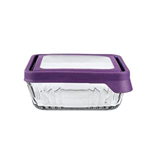 Anchor Hocking TrueSeal Glass Storage Container - Square - 4¾ cups - Purple
