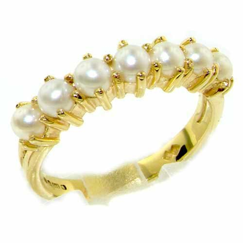 14K Yellow Gold Ladies Pearl Anniversary Eternity Ring - Size 12 - Finger Sizes 5 to 12 Available - Suitable as an Anniversary ring, Engagement ring, Eternity ring, or Promise ring