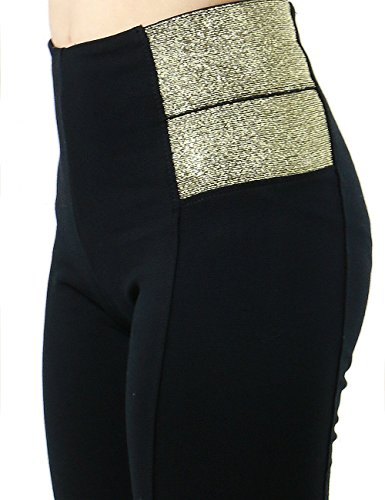 Women's Sexy Slimming Fit High Waist Novelty Casual Dress Pants SMALL BLACK/GOLD-P2000