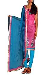 Unnati Silks Women pink-blue chanderi silk salwar kameez dress material