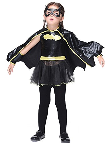 [Girl's Fancy Dress Halloween Dressing up Party Pirate Witch Batgirl Costume (M: 4-5Y, Batgirl)] (Batgirl Costumes Set)