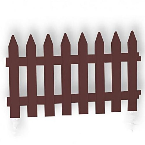 Brown Large 40 cm high plastic picket garden fence, 2 sizes, 2 colours