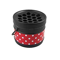 Metal Dot Bucket Cigarette Ashtray Black Red