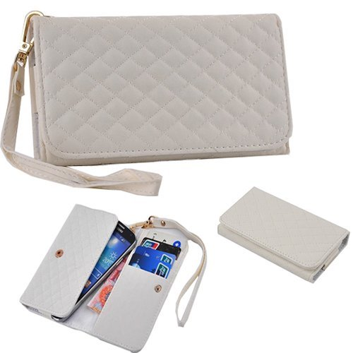 Vandot 1 X Elegant Wallet Leather Case For Htc One (M7) Synthetic Leather Cover Wallet Book Leather Mobile Phone Case Shell Protector Case Cover With Strap / Card Slots Credit Card Holder - White front-474979