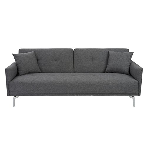 Euro Style Lafau Sofa Bed with Armrest, Dark Gray