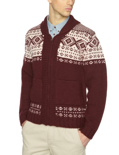 Farah 1920's The Wilkins Men's Cardigan Bordeaux Medium
