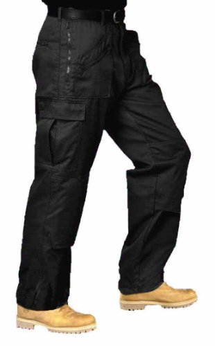Mens Cargo Work Trousers Black or Navy Size 28 to 52 By SITE KING (34 Waist / 33