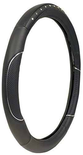 Custom Accessories 38465P Black Molded Steering Wheel Cover with Soft Grip and Jewels (Black Wheel Cover With Diamonds compare prices)