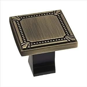 Richelieu Hardware Bp78035ae Classic Metal Square Knob With Decorative Trim 35mm Antique English