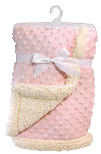 Stephan Baby Super-Soft Reversible Velour Plush or Sherpa Bumpy Blanket, Pink