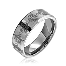 buy Bling Jewelry Celtic Cross Tungsten Beveled Wedding Band 8Mm