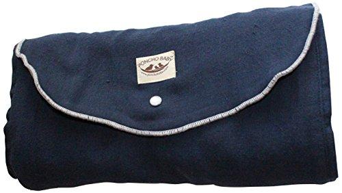 Poncho Baby Organic Blanket, Roly Blanket, Gray/Navy Blue
