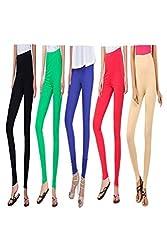 kannan Women's Cotton Blended Churidar Leggings (pack of 5)