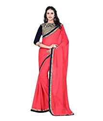 Pragati fashion Hub Pink Faux Georgette Saree