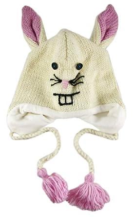 100% Wool White Rabbit Pilot Cap W/ Pom Poms Bunny